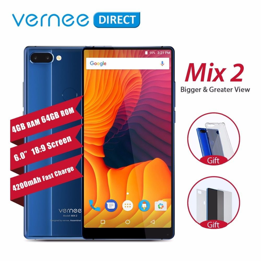 Original Vernee Mix 2 Dual Camera Smartphone 4GB 64GB 6.0 Inch 18:9 Screen Back Glass Design Android 7.0 13MP Cellphone 4200mAh