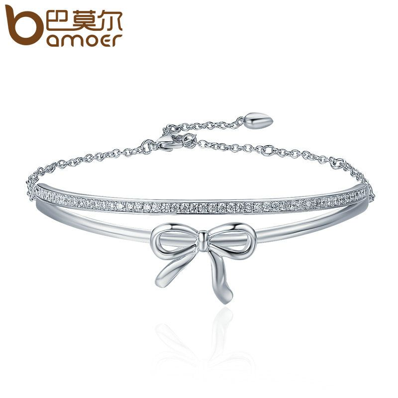 BAMOER Sweet New Silver Color Double Layer Bowknot Tennis Bracelet Lace up Strand Bracelets for Women Fine Jewelry YIB034