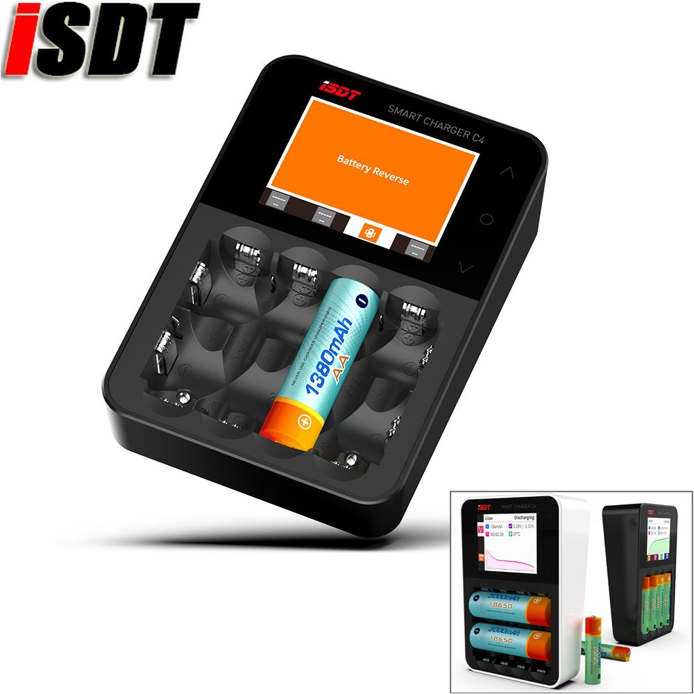 100% Original ISDT C4 8A Touch Screen Smart Battery Charger Screen With USB Output For 18650 26650 AA AAA Battery For RC Mode