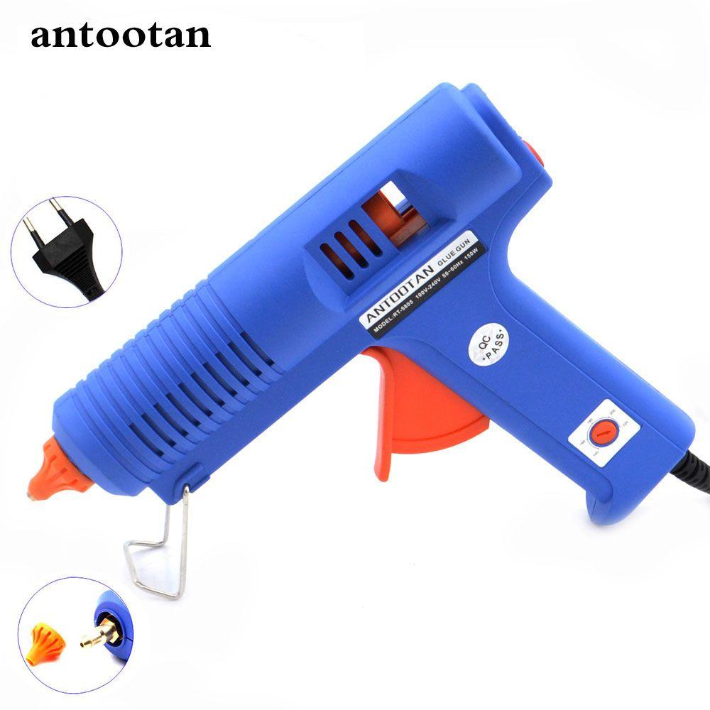 <font><b>150W</b></font> EU Plug BULE Hot Melt Glue Gun with Temperature Tool Industrial Guns Thermo Gluegun Repair Free 1pc 11mm Stick
