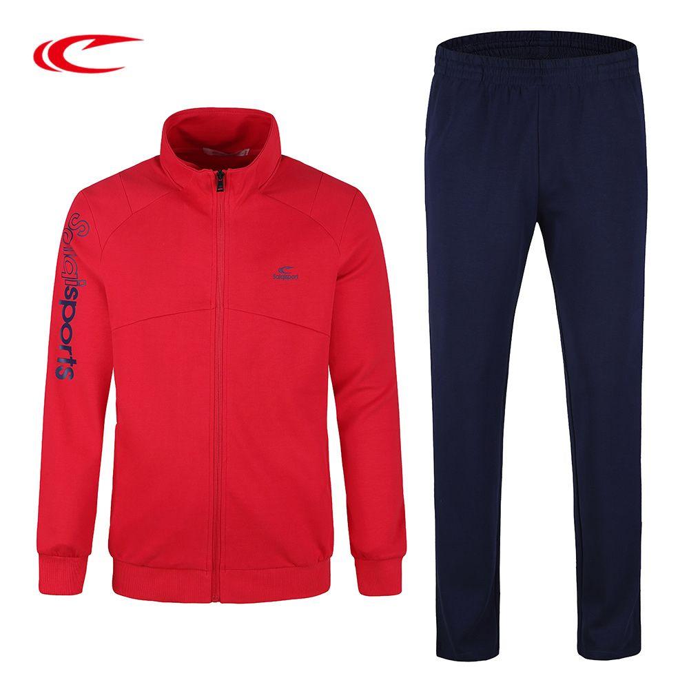 SAIQI Men Sportswear Winter Warm Sport Suits Male 2017 Printing Pattern Knitting Cardigan Tracksuit Jogging Running Sets 1007