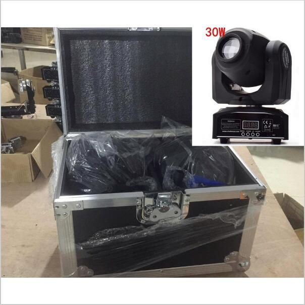 2PCS 30W mini Moving Head + flightcase LED Spot Moving Head Light/USA Luminums 30W LED DJ Spot Light