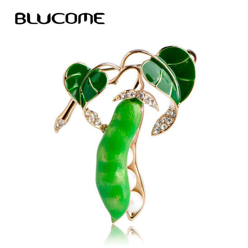 Blucome Esmalte Verde Guisante Corsages Broches Para Las Mujeres de Oro de color de Cristal Perlas Simuladas de Los Hombres Suéter de Los Cabritos Traje Accesorios Pins