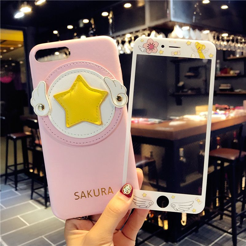 For iPhone 8 plus case + temper glass film, Cardcaptor Sakura phone Cover for iPhone 7 6 6splus case Angel wings Cortical feel