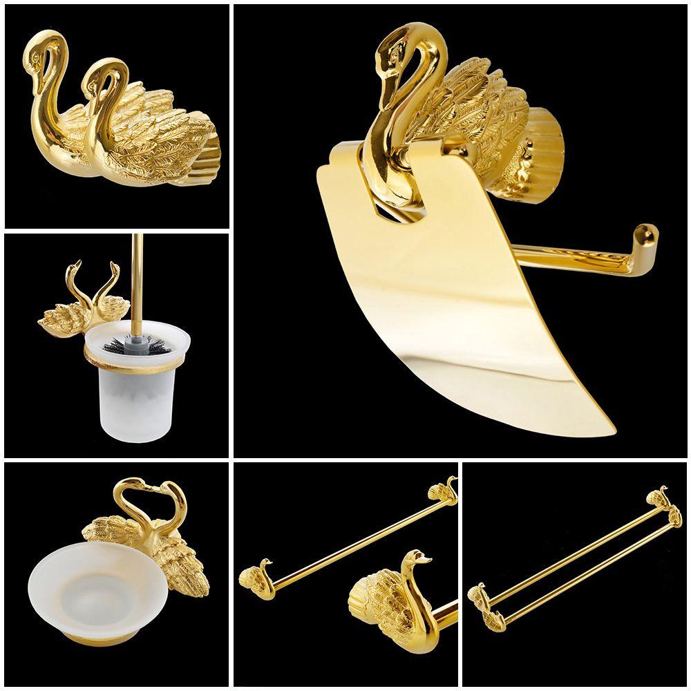 Bathroom Accessories Set Golden Color Swan Toilet Paper Rack Tissue Holder Roll Paper Holder MB-0969A