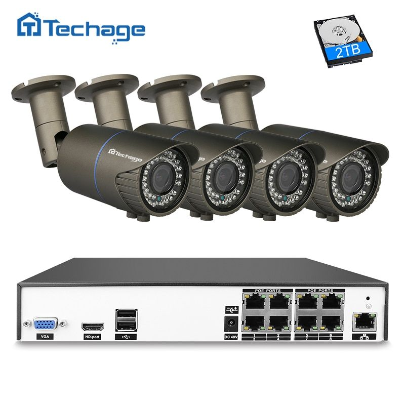 Techage H.265 8CH NVR Kit 4MP POE CCTV System 2.8mm-12mm Varifocal Zoom Lens IP Camera P2P Outdoor Security Surveillance Set