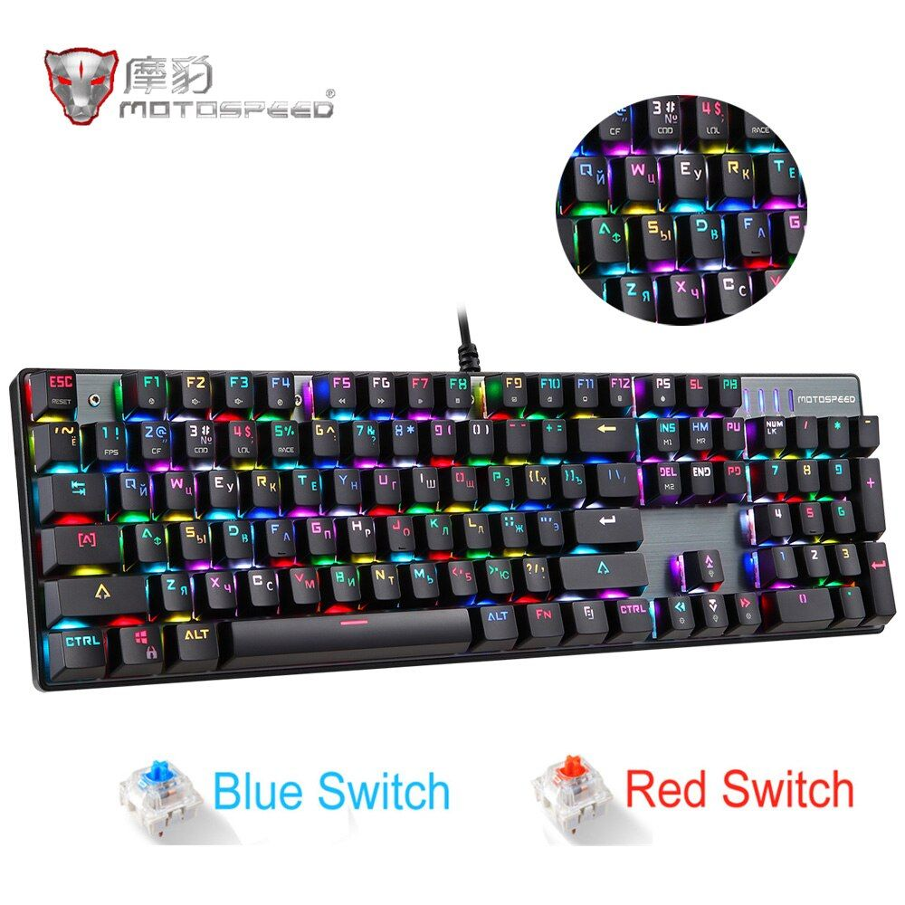 Original Motospeed CK104 RGB Gaming Mechanical Keyboard Russian English Red Blue Switch Backlit Keyboard Anti-Ghosting for Gamer