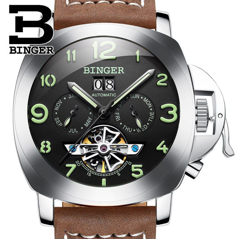 Switzerland Luxury Men's Watch BINGER Brand Clock Multi-functional Military Glowwatch Tourbillon Mechanical Wristwatches B1170-2