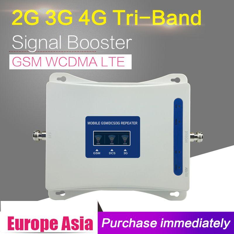 2g 3g 4g GSM 900 WCDMA 2100 LTE 1800 Tri Band Handy Signal Booster 65dB Gain handy Cellular Repeater 3g 4g Verstärker