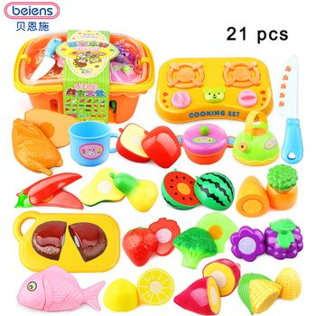 Beiens Детские претендует Кухня игрушки Пластик образования детей резки фрукты овощи корзины Пособия по кулинарии Еда игрушки для детей
