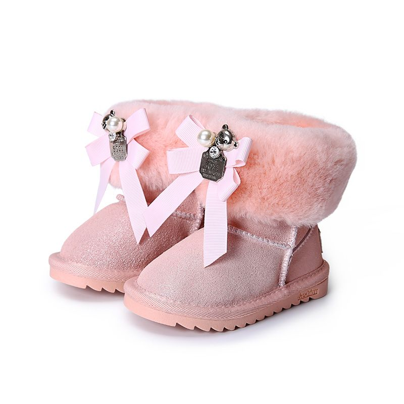Принцессы для девочек бантик обувь зимние сапоги для девочек зимняя обувь с мехом Дети Натуральная кожа ботильоны для девочек