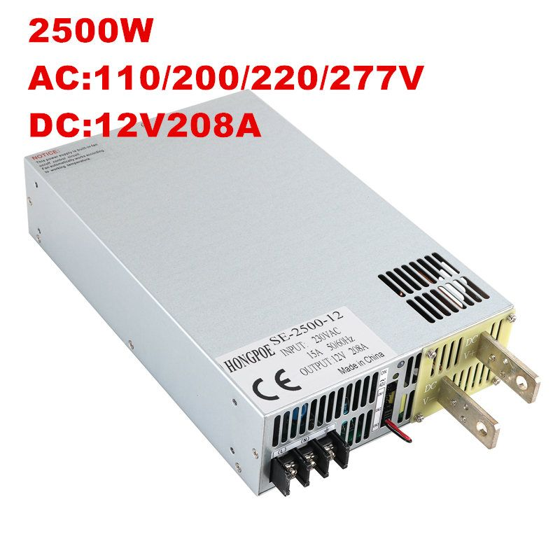 2500W 12V Power Supply 12V 208A Output Voltage Current Adjustable AC-DC 0-5V Analog Signal Control 0-12V 183A SE-2500-12 DC12V