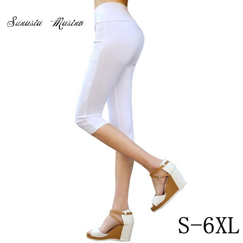 Лето 2016 моды 16 Цвет Для женщин повседневные штаны талия похудения Капри S-6XL размер карандаш Штаны Бесплатная доставка