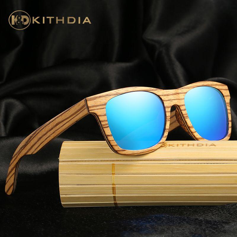 KITHDIA TOP Brand Designer Bamboo Sunglasses Wood For Women Men vintage Glasses Retro Mens gafas oculos oculos de sol madeira