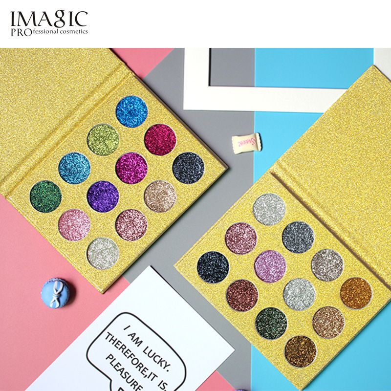 Imagic блестит тени для век 12 Цветов один тени для век прессованные блеск Палитры diamond косметики Тени для век магнит Палитры