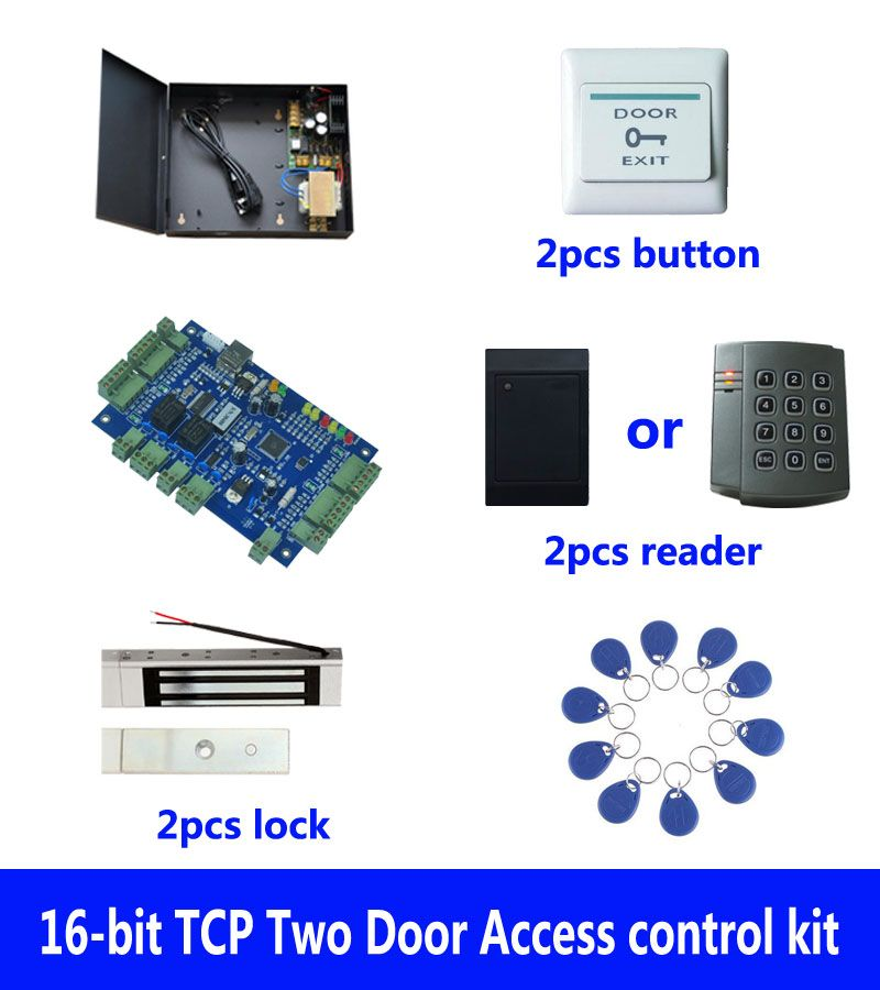 RFID access kit,TCP two door access control+powercase+180kg magnetic lock+ID reader+exit button+10 ID tags,sn:kit-B203