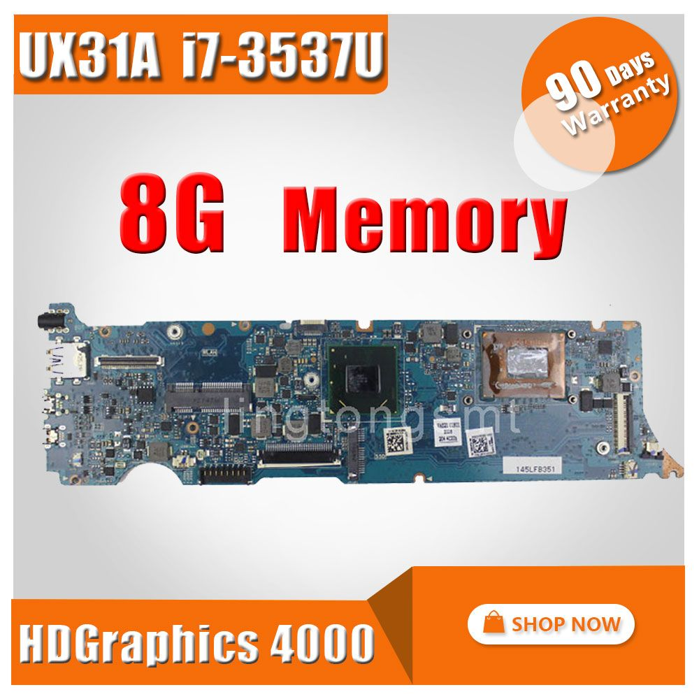 Original for ASUS UX31A motherboard UX31A2 REV4.1 Main board with Processor i7-3537 8G Memory on board 100% tested+working