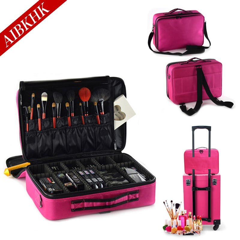 Women Fashion Cosmetic Bag Travel Makeup Organizer Professional <font><b>Make</b></font> Up Box Cosmetics Pouch Bags Beauty Case For Makeup Artist