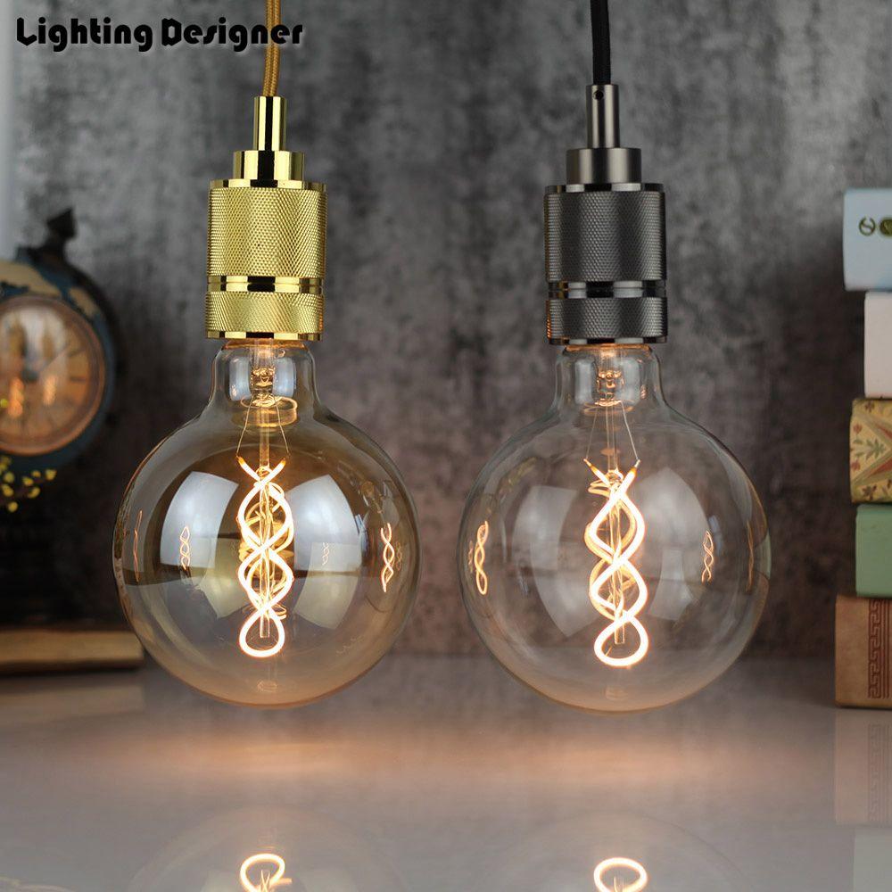 G125 led edison ampoule spirale dimmable lumière ambre rétro économie lampe vintage filament bulle boule ampoule E27 lumière led 4 W 110 V 220 V