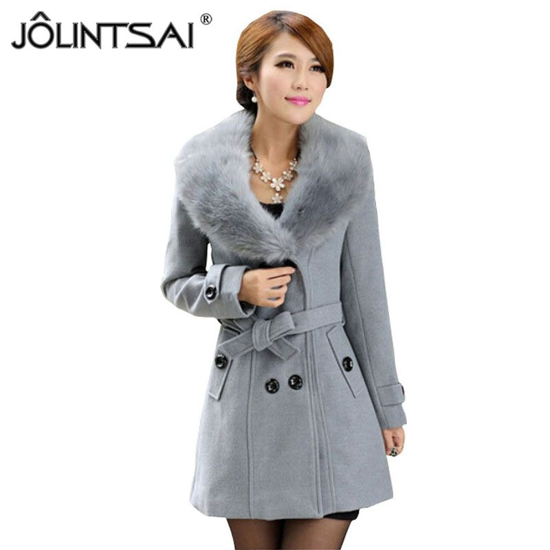 Plus Size M-5XL Winter Coat Women 2015 New Fashion Slim Big Fur Collar Double-Breasted Womens Wool Blended Hot Sale AE-ME-168
