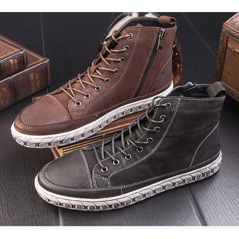 Otoño zapatos retro hombres de cuero de tendencia de los hombres Británicos zapatos para hacer el viejo estudiantes marea zapatos altos zapatos ocasionales de los hombres DD809