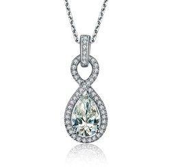 Xmas 2CT Pear Bentuk 2 Carat Berlian Liontin Kalung untuk pacar pernikahan pendant untuk wanita pengantin Mewah kalung