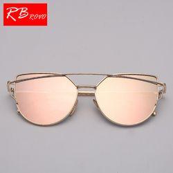 RBROVO Nouvelle Marque Designer Cateye lunettes de Soleil Femmes Vintage Métal Lunettes Pour Femmes Miroir Rétro Lunette De Soleil Femme UV400
