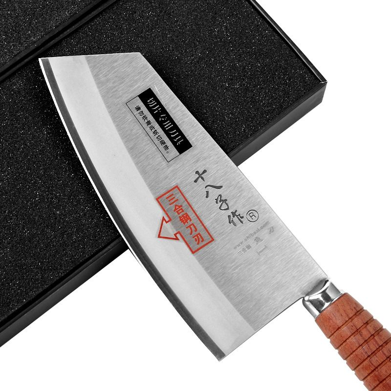 2018 SHI BA ZI F214-1 professional 7.5-inch Stainless Steel,Wooden Handle Heavy Duty Chinese Kitchen Knife Chef Knife - Cleaver