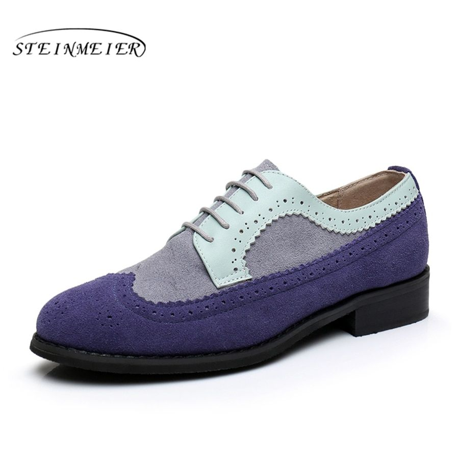 Women genuine leather flat shoes bullock round toe handmade 11 vintage blue 2018 sping oxford shoes for women with fur