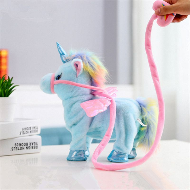 Popular Walking Unicorn Plush Toy soft Stuffed Animal sing song music Twisted ass Horse Cute Kawaii Christmas Gift for Children