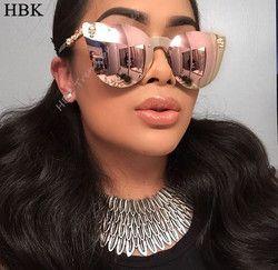 HBK Rose Or lunettes de Soleil Femmes Crâne Miroir Diamant Marque Designer En Métal Cadre Lunettes de Soleil Miroir Lentille Plate Lunettes de soleil