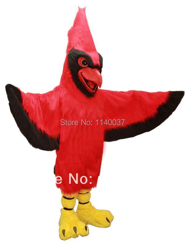 Maskottchen lange haare plüsch material rot parrot maskottchen kostüm erwachsene größe birds outfit anzug dress requisiten