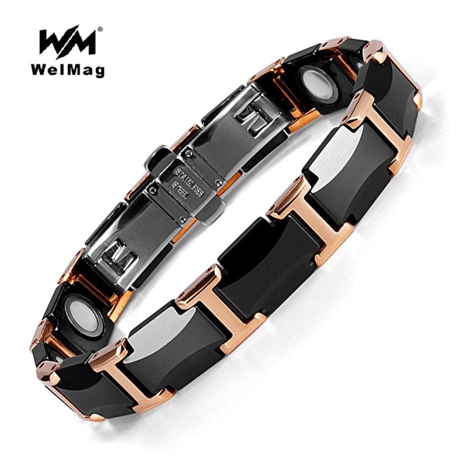 WelMag Bracelets magnétiques santé énergie mode bracelets en céramique noire Bracelets unisexe bracelet bijoux de luxe cadeaux d'amitié