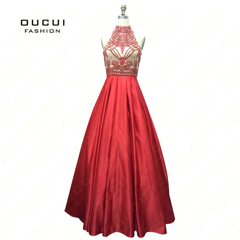 Real Photos Tulle Fabric Beading Handmade Formal Evening Long Dresses open back Lace OL103009