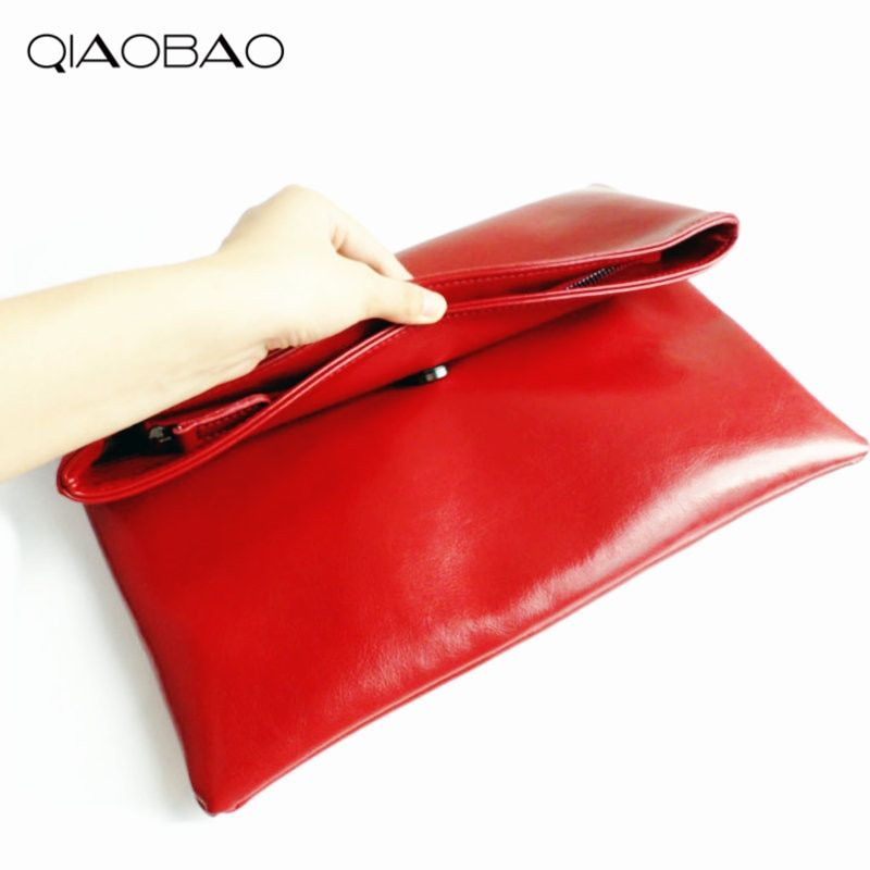 QIAOBAO 100% Natural Cowhide Bag Genuine Leather Women's Clutch Bag Female Cowhide Envelope Bags Designer Flap Bags