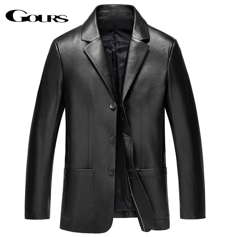 Gours Winter Echtem Leder Jacke für Männer Mode Marke Leder Anzug Blazer Schwarz Schaffell Jacken und Mäntel Neue 4XL