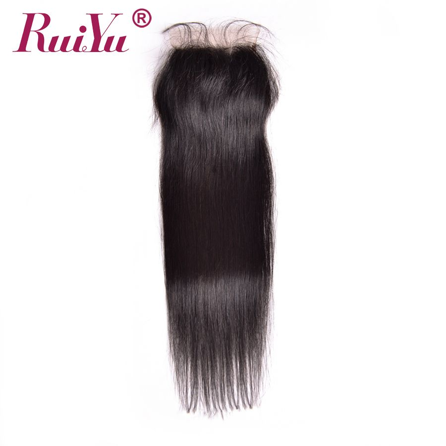 RUIYU Hair Peruvian Lace Closure Straight Human Hair Closure With Baby Hair 4''x4'' Free Part Natural Color Non Remy Hair
