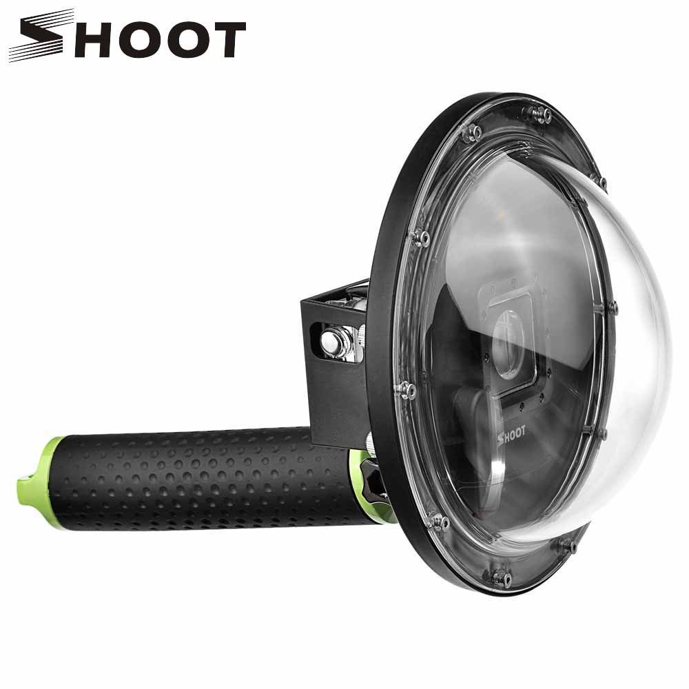 SHOOT 6 inch Underwater Diving Dome Port for GoPro Hero 4 3+ Camera with Go Pro Case Float <font><b>Grip</b></font> Dome for Gopro Hero 4 Accessory