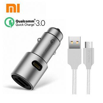 Original Xiaomi QC3.0 car charger xiaomi 5V/3A dual USB Quick charger 9V/2A 12V/1.5A MI quick car charger + 2A Magcle cable