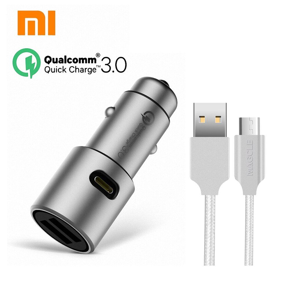 Original Xiaomi QC3.0 car charger xiaomi 5V/3A <font><b>dual</b></font> USB Quick charger 9V/2A 12V/1.5A MI quick car charger + 2A Magcle cable