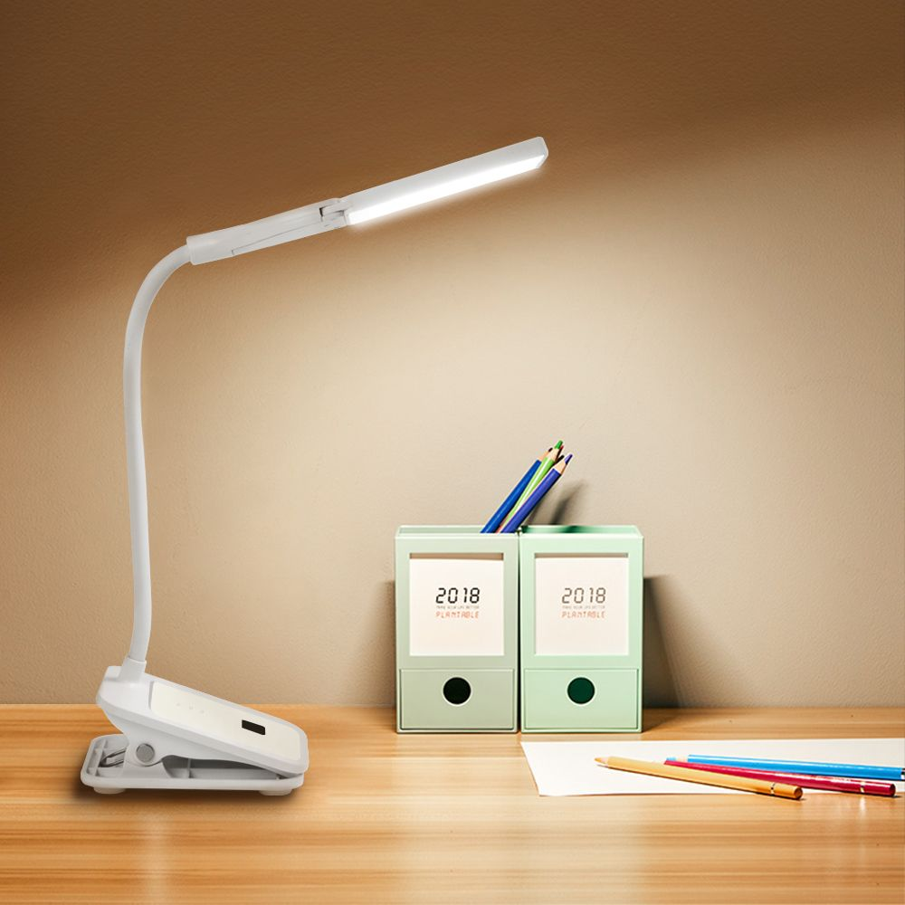LED Clip Desk Lamp Touch On/Off 3Modes Rechargeable Dual Head 7000K Eye Protection LED Table Reading Light for Readers Students