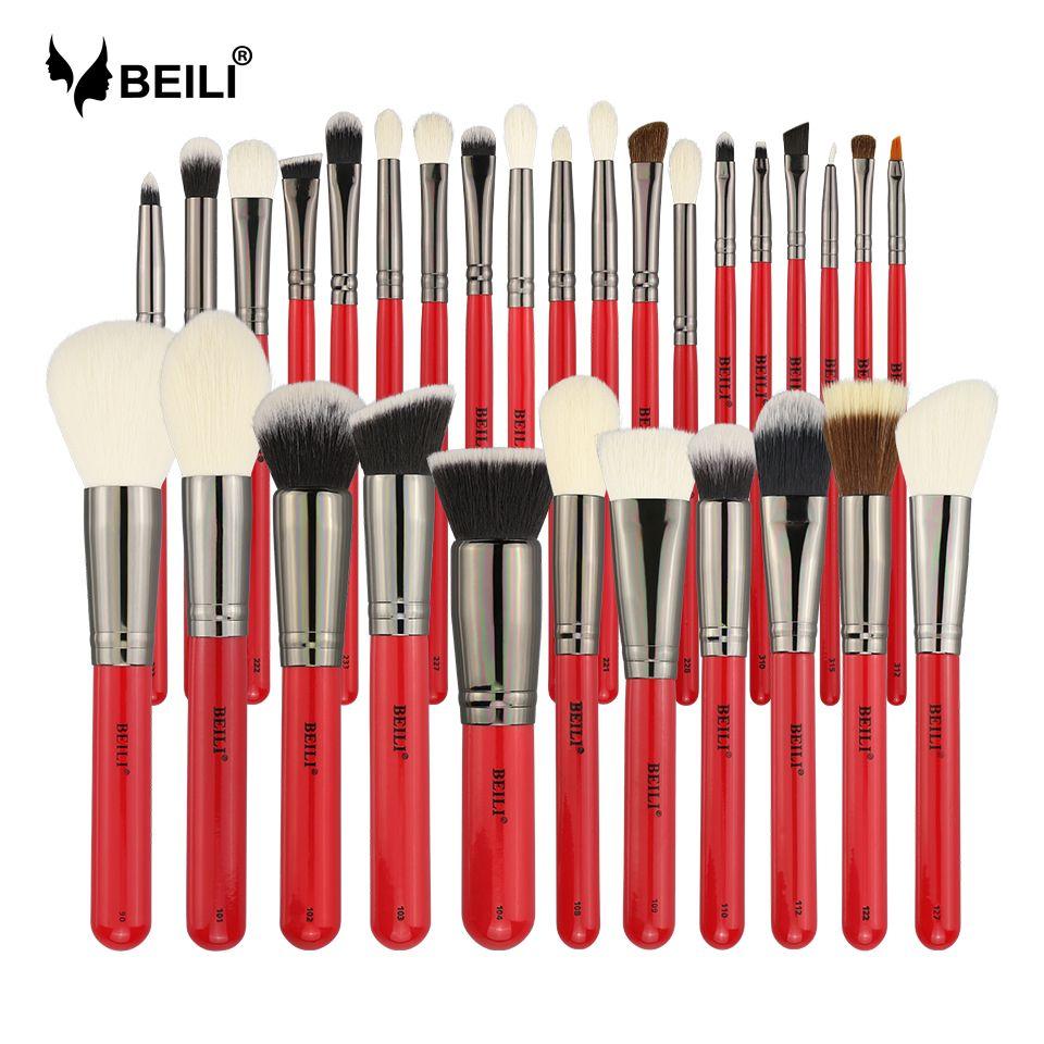 BEILI 30pcs Goat Pony Hair Synthetic Powder Foundation Blusher Eyeshadow Eyebrow Eyeliner Concealer Pro Makeup Brush Set Tools