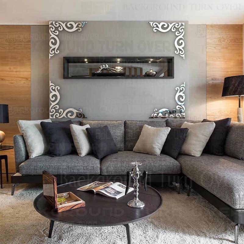 Vintage diagonale cadre motif fond décoratif 3D acrylique miroir Stickers muraux Art salon chambre décor à la maison R203