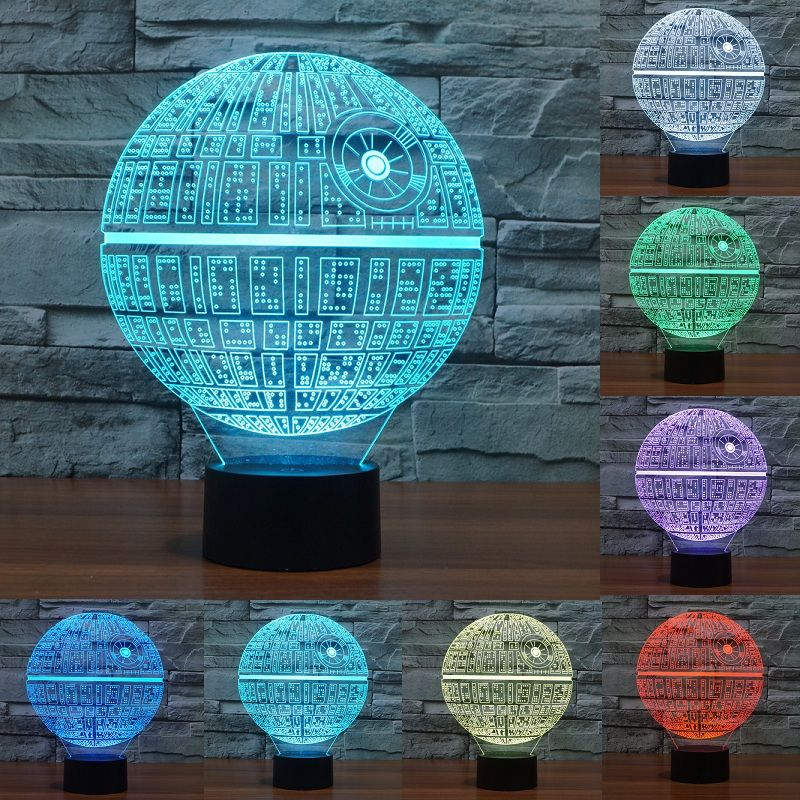 Star Wars Death star 3D LED Night Light <font><b>Touch</b></font> Switch Table Lamp USB 7 Color Room Decor Colorful LED Lighting for Gift IY803327
