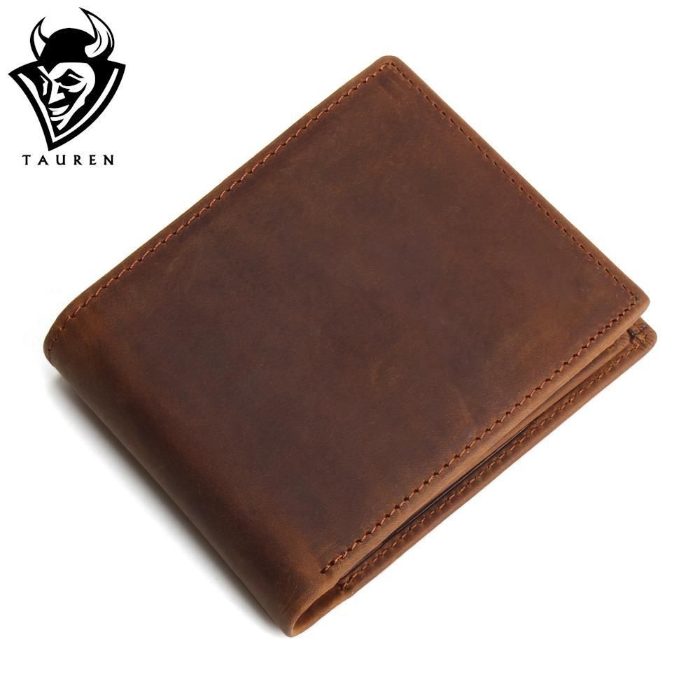 TAUREN <font><b>First</b></font> Layer Cow Genuine Leather Wallet With Coin Pocket Men Bifold Zipper Crazy Horse Leather Clutches Retro Coin Purse