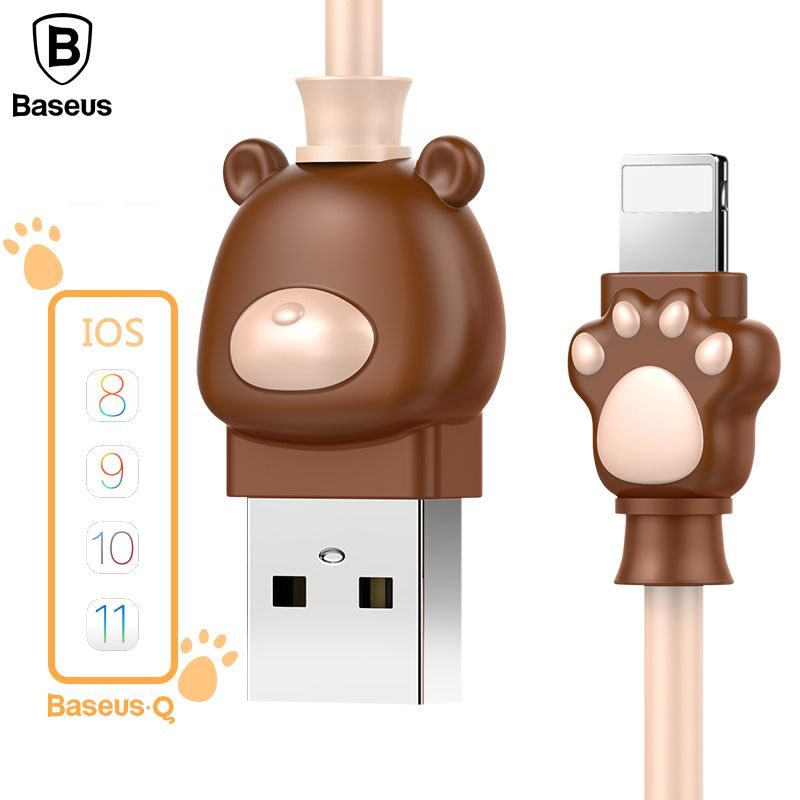 Baseus Cute Lovely USB Cable For iPhone X 8 7 5 6 6s USB Charger Charging Cable For iPod iPad USB Charger Cable Phone Data Cable