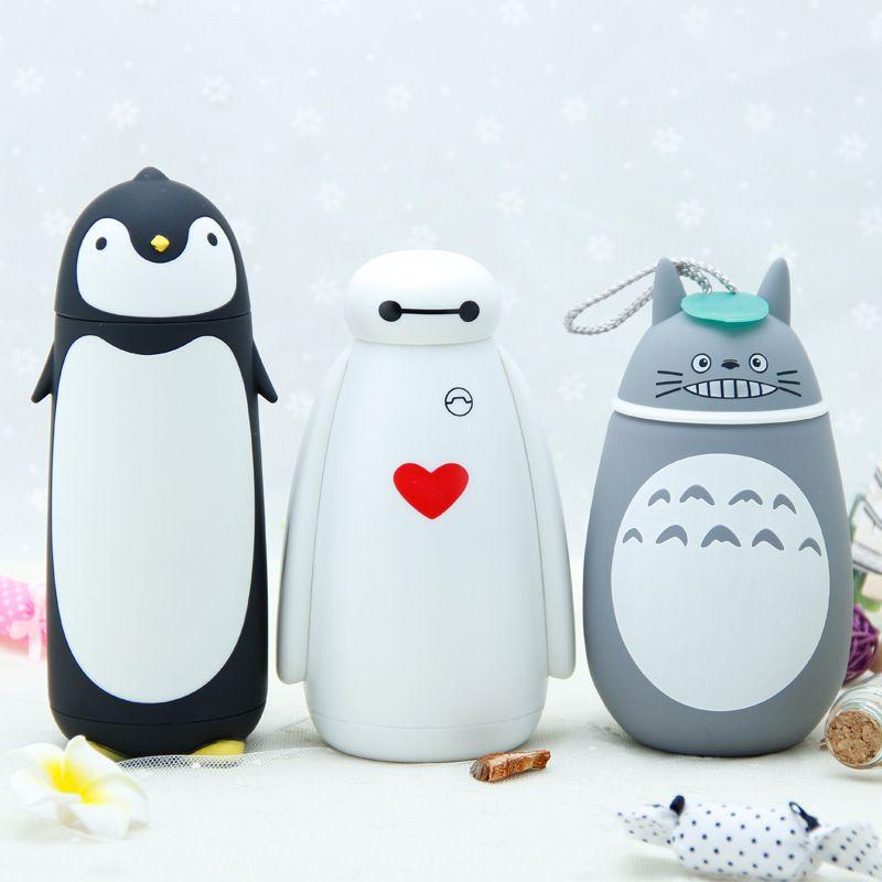 Tasse de Thermos d'acier inoxydable avec le Style de bande dessinée de mode tasse de vide de vente chaude portative pour Baymax, pingouin, Totoro