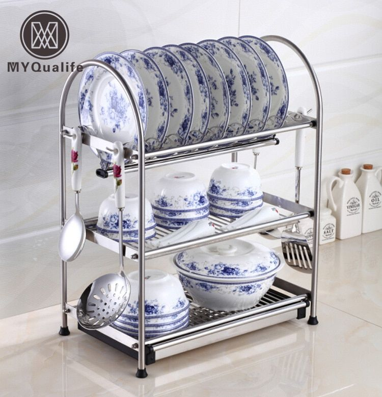 Desktop Stainless Steel Dish Rack Plates Drainer Drying Rack for Dishes Kitchen Storage Rack with Hooks