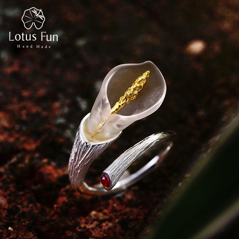 Lotus Fun réel 925 en argent Sterling pierres précieuses naturelles Designer Bijoux fins Calla Lily fleur anneau anneaux réglables femmes Bijoux
