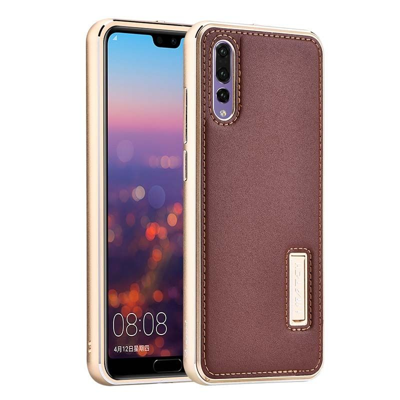 Luxury Original Brand Genuine Leather For Huawei P20 Pro Case Aluminum Metal Frame Cover Phone Cases For Huawei P20 Case JS0098